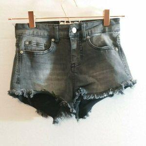 Altar'd State Black Wash Raw Hem Hi Rise Shorts